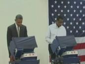 Обама проголосовал досрочно вслед за женой.выборы в США, Обама, Ромни, США.НТВ.Ru: новости, видео, программы телеканала НТВ