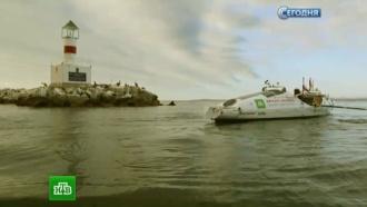 Шторм вТихом океане угрожает перевернуть лодку путешественника Фёдора Конюхова