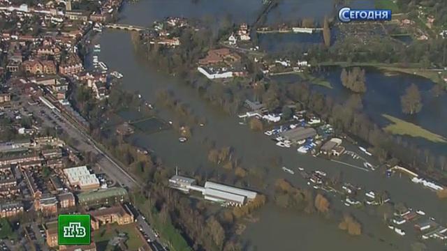 Тонущие британцы зовут на помощь Кэмерона всапогах.Великобритания, наводнение, Темза.НТВ.Ru: новости, видео, программы телеканала НТВ