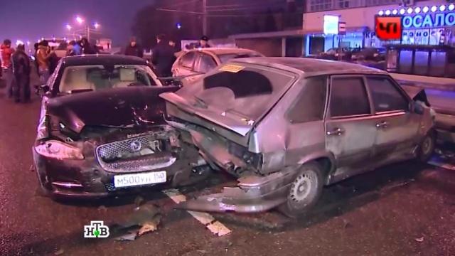 Мчавшийся Jaguar протаранил 9 машин на проспекте Мира.ДТП, Москва.НТВ.Ru: новости, видео, программы телеканала НТВ