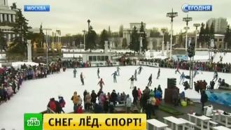 Москвичи впарке Горького ина ВДНХ отмечают День зимних видов спорта