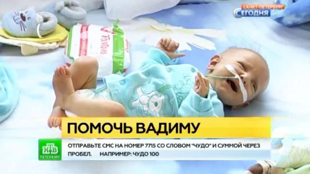 Петербуржцев просят помочь деньгами для проведения сложнейшей операции трехмесячному Вадику.SOS, Санкт-Петербург, благотворительность, болезни, дети и подростки.НТВ.Ru: новости, видео, программы телеканала НТВ