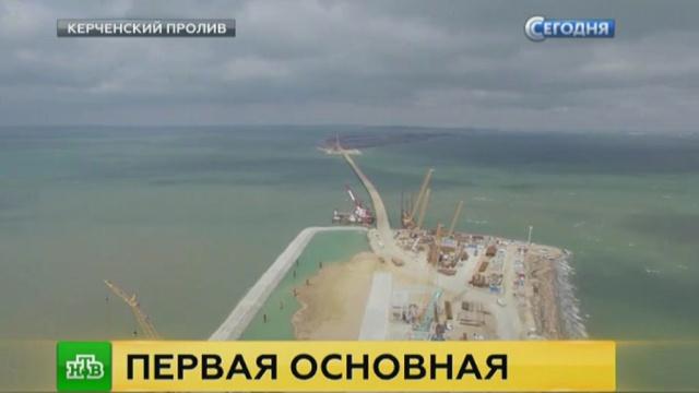 Сваи Керченского моста вбивают на глубину до 100 метров.Крым, мосты, строительство.НТВ.Ru: новости, видео, программы телеканала НТВ