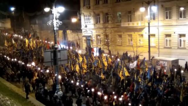 Националисты устроили факельное шествие в Киеве: видео.Киев, Украина, митинги и протесты, памятные даты.НТВ.Ru: новости, видео, программы телеканала НТВ