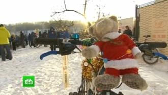 Москвичи влютый холод устроили массовый парад на велосипедах