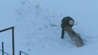 Житель Минска жестоко избил ковер перед видеокамерой