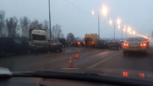 В Подмосковье столкнулись около 20 машин.автомобили, ДТП, Московская область.НТВ.Ru: новости, видео, программы телеканала НТВ