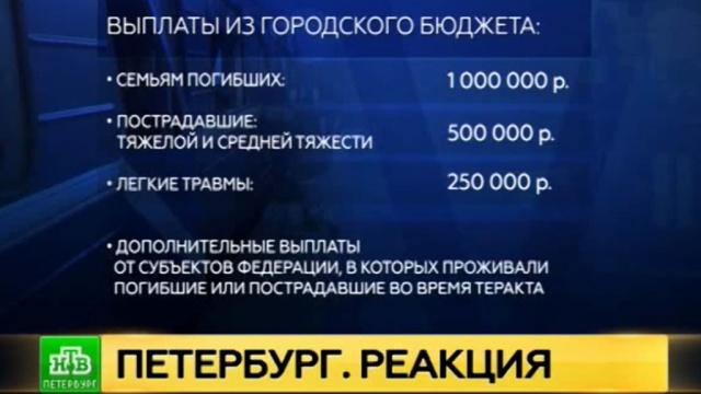 Власти Петербурга окажут полноценную помощь всем жертвам теракта в метро.Санкт-Петербург, взрывы, компенсации, метро, терроризм.НТВ.Ru: новости, видео, программы телеканала НТВ
