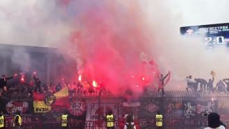 Фанаты «Спартака» сломали ворота и устроили пожар на тульском стадионе