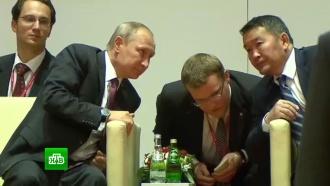 Путин слидерами Японии иМонголии посетил турнир по дзюдо