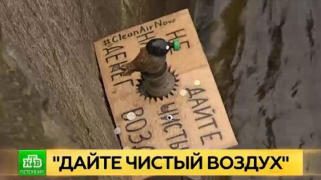 «Зеленые» надели противогаз на чижика-пыжика.Гринпис, Санкт-Петербург, памятники.НТВ.Ru: новости, видео, программы телеканала НТВ
