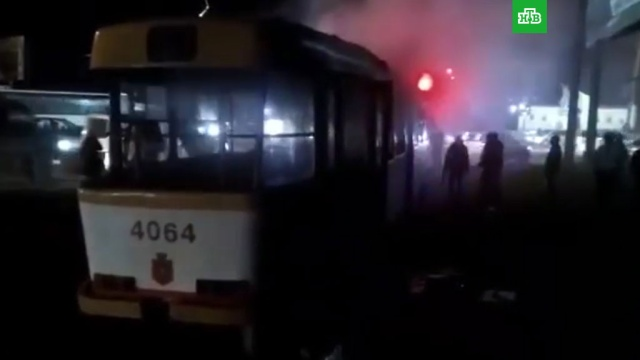Семь человек пострадали при пожаре в трамвае в Одессе.Одесса, Украина, общественный транспорт, пожары.НТВ.Ru: новости, видео, программы телеканала НТВ