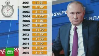 За годы президентства Путин провел в&nbsp;зале для <nobr>пресс-конференций</nobr> двое суток