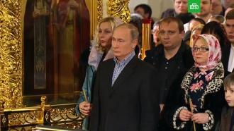 Путин встречает Рождество вСимеоновской церкви вПетербурге