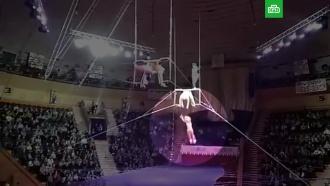 Падение московской гимнастки в цирке Гомеля попало на видео