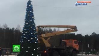 Сосновоборцы растащили на сувениры украшения с главной новогодней елки