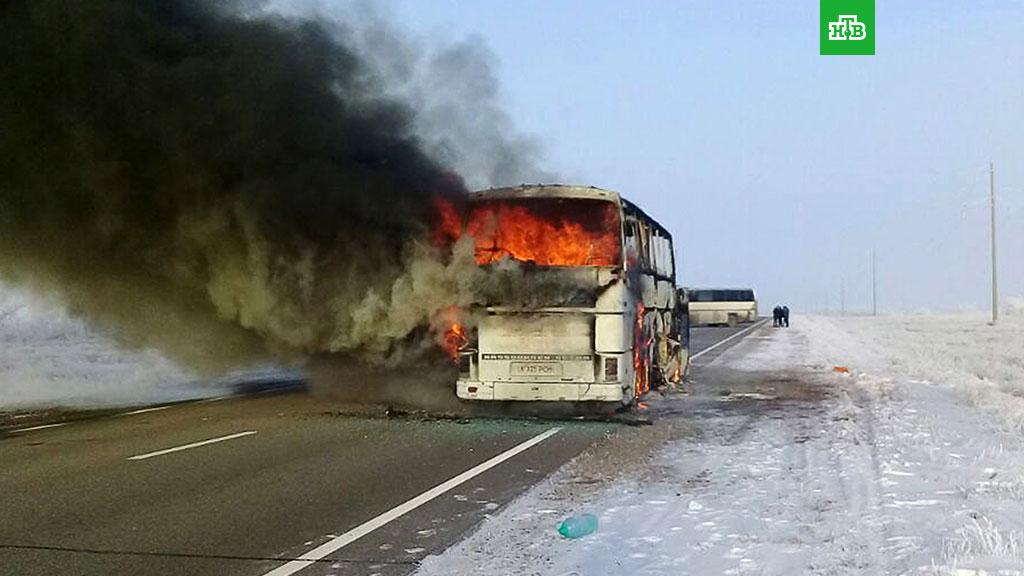 ВМВД Казахстана назвали возгорание автобуса несчастным случаем