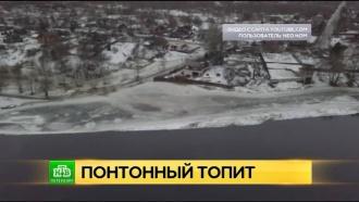 Вышедшая из берегов Нева подтопила поселок Понтонный