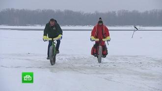 Велосипедисты-экстремалы отправились в 450-километровый марафон по льду Волги