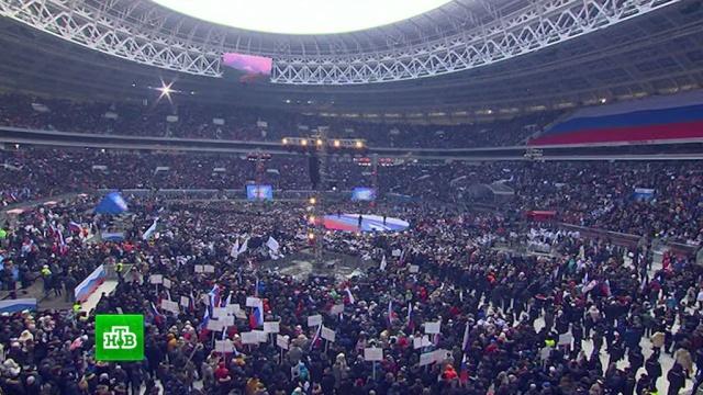 «Способен поднять страну»: десятки тысяч россиян поддержали Путина на митинге в «Лужниках».выборы, митинги и протесты, Путин, Москва, стадионы.НТВ.Ru: новости, видео, программы телеканала НТВ