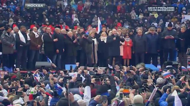 Митинг в поддержку Путина в «Лужниках» собрал более 130 тысяч человек.Лужники, Москва, Путин, выборы, митинги и протесты.НТВ.Ru: новости, видео, программы телеканала НТВ
