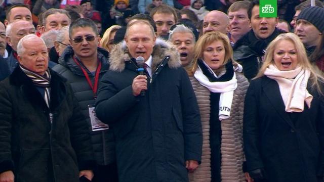 Путин спел гимн России со сборной по хоккею на митинге вЛужниках.Лужники, Москва, Путин, выборы, митинги и протесты.НТВ.Ru: новости, видео, программы телеканала НТВ