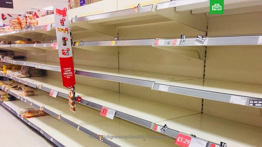 Замерзшие британцы публикуют фото опустевших полок в магазинах.Великобритания, еда, магазины, морозы, погода, продукты, снег.НТВ.Ru: новости, видео, программы телеканала НТВ
