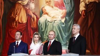Путин приехал на пасхальное богослужение в храм Христа Спасителя.Пасха, Путин, православие, религия, торжества и праздники.НТВ.Ru: новости, видео, программы телеканала НТВ