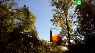 Минобороны показало запуск баллистической ракеты «Искандером»
