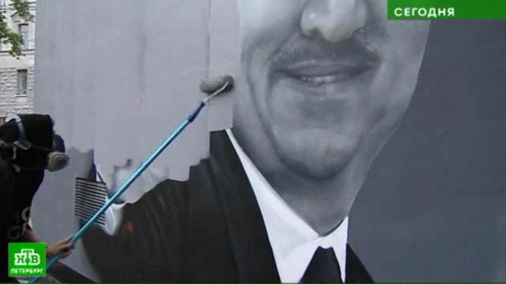 Питерские граффити сЧерчесовым закрасили ради нового тренерского портрета