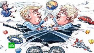 Трамп вЛондоне облетает протестующих на вертолете