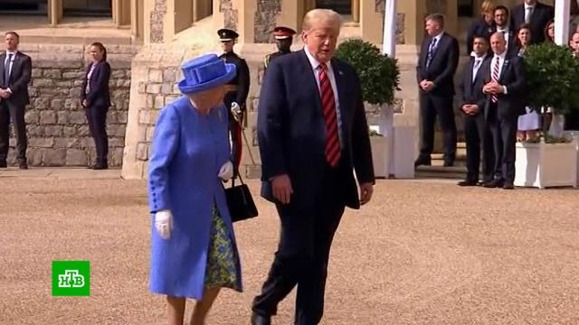 На встрече с британской королевой Трамп оконфузился несколько раз.Великобритания, Елизавета II, монархи и августейшие особы, Трамп Дональд.НТВ.Ru: новости, видео, программы телеканала НТВ