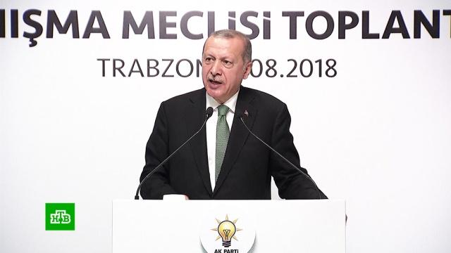 «Не поставят на колени»: Эрдоган пообещал ответ на давление со стороны США.США, Турция, Эрдоган, санкции, терроризм.НТВ.Ru: новости, видео, программы телеканала НТВ