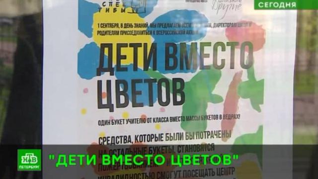 Петербургские школьники отказываются от цветов к1Сентября, чтобы помочь нуждающимся.1 Сентября, Санкт-Петербург, благотворительность, школы.НТВ.Ru: новости, видео, программы телеканала НТВ