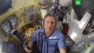 Космонавт Прокопьев показал дыру в туалете «Союза»