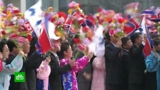 Кприезду Мун Чжэ Ина Пхеньян утонул влозунгах об объединении двух Корей