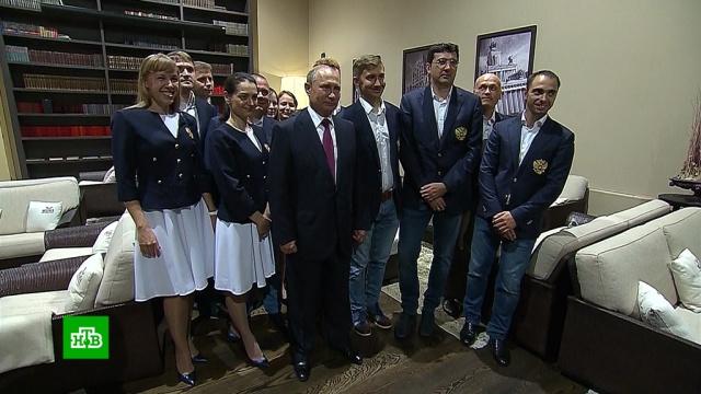 Путин лично пожелал успеха российским шахматным олимпийцам.Владимир Путин встретился с российскими шахматистами, которые 22 сентября отправятся в Грузию на Всемирную олимпиаду по этому виду спорта..Путин, шахматы.НТВ.Ru: новости, видео, программы телеканала НТВ