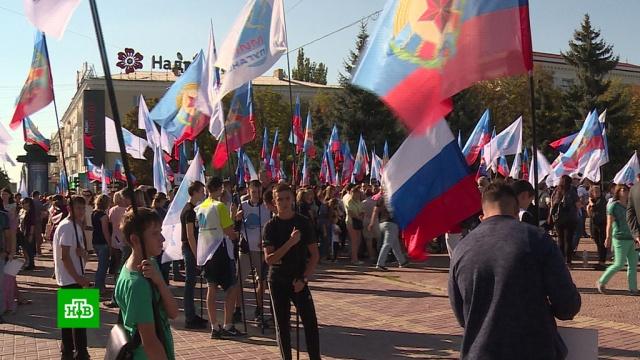 В Луганске прошел митинг в поддержку претендента на пост главы ЛНР Пасечника.ЛНР, Луганск, Украина, выборы.НТВ.Ru: новости, видео, программы телеканала НТВ