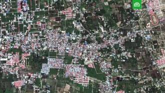 Спутник снял на видео разрушение города в Индонезии