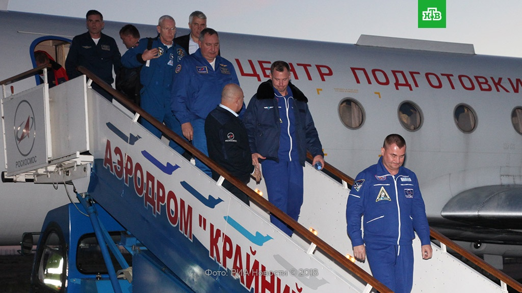 На аэродром Чкаловский прибыл экипаж космического корабля «Союз».Байконур, МКС, космонавтика, космос.НТВ.Ru: новости, видео, программы телеканала НТВ