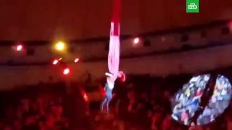 Гимнастка сорвалась с высоты при исполнении трюка в цирке