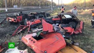 Появилось видео с места столкновения грузовика и поезда на Кубани
