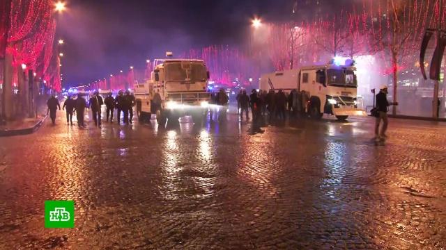 Французская полиция заявляет оснижении активности «желтых жилетов».Париж, Франция, беспорядки, задержание, митинги и протесты.НТВ.Ru: новости, видео, программы телеканала НТВ