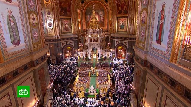 Рождество вхраме Христа Спасителя встретили более 5тысяч верующих.Москва, Рождество, православие, религия, торжества и праздники.НТВ.Ru: новости, видео, программы телеканала НТВ