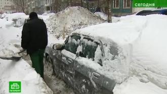 Чиновники инспектируют заваленные снегом дворы Петербурга