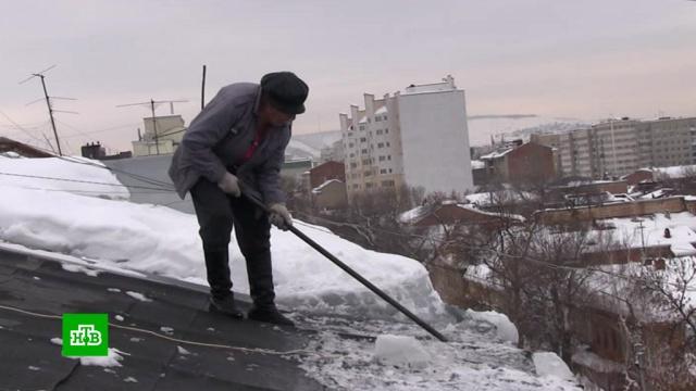 Саратовская пенсионерка вынуждена чистить крышу многоэтажки от снега.ЖКХ, Саратовская область, пенсионеры, снег.НТВ.Ru: новости, видео, программы телеканала НТВ