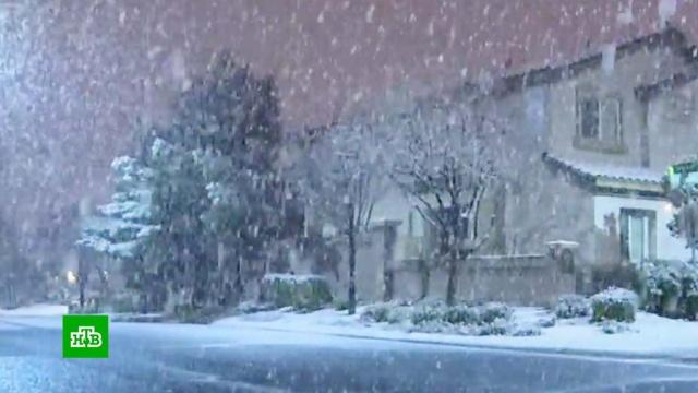 Редкое зрелище: Лас-Вегас накрыл мощный снегопад.зима, снег, США.НТВ.Ru: новости, видео, программы телеканала НТВ