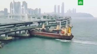 Российское судно с пьяным капитаном врезалось в мост в Южной Корее