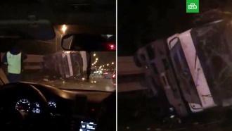 ВПодмосковье грузовик снес ограждение ивылетел на встречку, есть погибшие