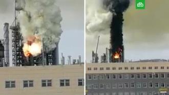 Пожар на Комсомольском НПЗ попал на видео